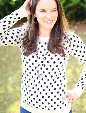 Lindsay wearing Gideon Polka Dot Sweater by 41 Hawthorn