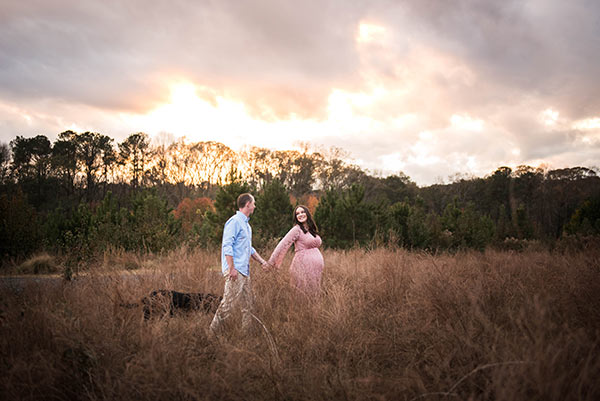 image of Lindsay and Ian walking in a field