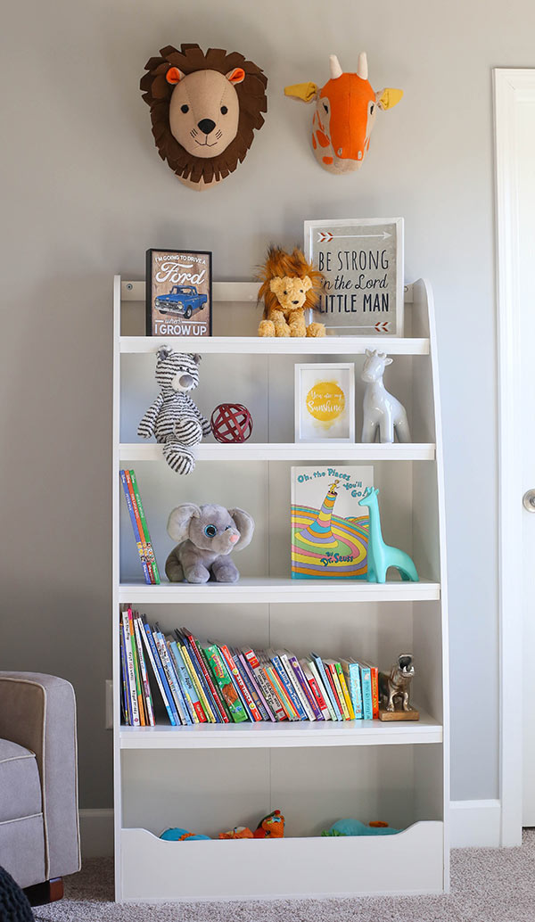 image of bookshelf with books and toys