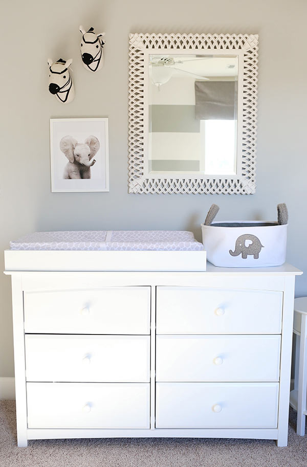 image of white changing table