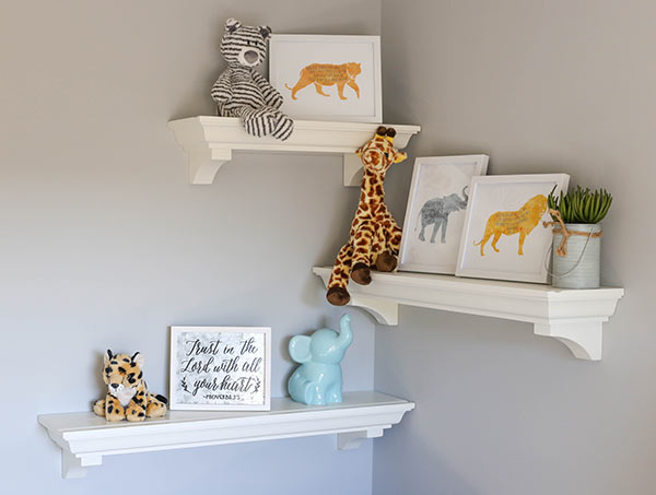 image of shelves and nursery decor
