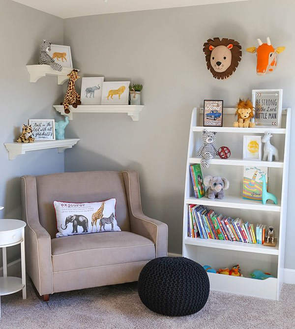 image of rocking chair and bookshelf in nursery